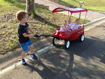 Triplets in wagon